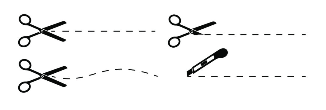 Set of scissors and stationery knife with cut lines. Scissors with cut lines, coupon cutting icon. Isolated on transparent background