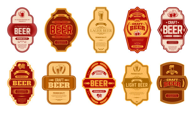 Beer vintage labels. Retro beers brewery badges, alcohol craft vintage lager can or bottle symbols vector isolated illustration set. Old label beer, typography premium badge lettering