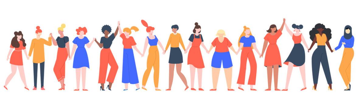 Women friendship group. Diverse female team standing together, holding hands, girls power, multinational sisterhood community vector illustration. Friendship group females, friends people diversity