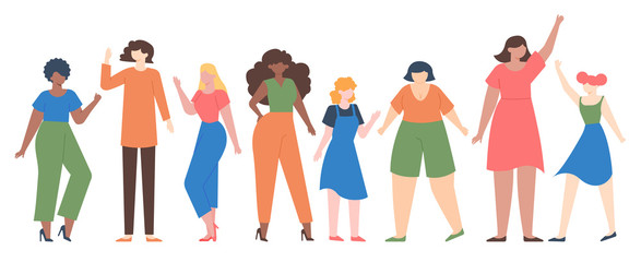 Women diverse. Female group empowerment, girls team with different size and skin color, diverseness sisterhood community vector illustration set. Girl group community, different female