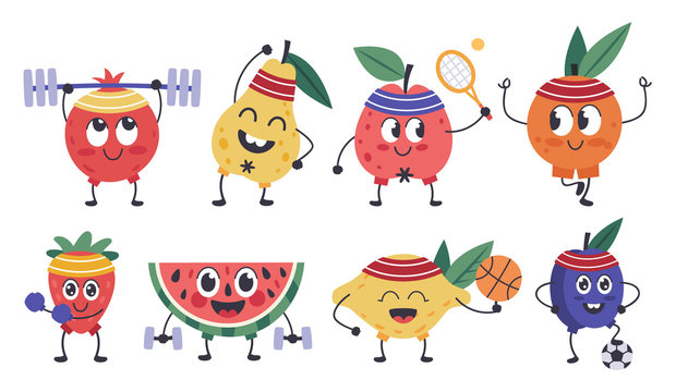 Fruit fitness characters. Doodle fruit mascots do sports, funny apple, lemon workout, healthy exercises and meditation isolated vector icons set. Fruit food, pear and lemon, pineapple ripe