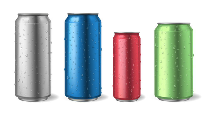 Aluminium cans with water drops. Realistic metal can mockups for soda, alcohol, lemonade and energy drink illustration set. Aluminium metal can, energy and lemonade illustration