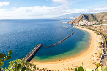 Photo sur Toile Iles Canaries Canary islands Tenerife beach Teresitas sea travel traveling Atlantic Ocean