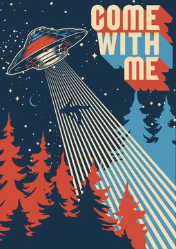 UFO abducts man colorful poster