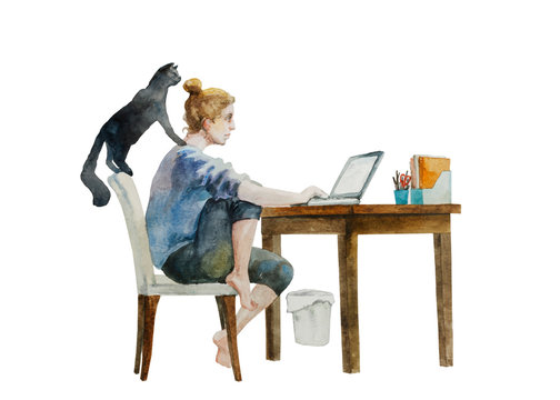 Young woman working from home and distracted by her black cat . Original watercolor illustration of home quarantine process, isolated on white background