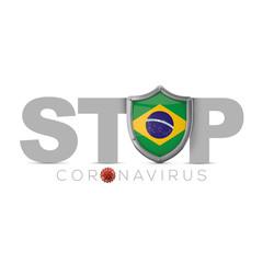 Brazil protective shield. Stop coronavius concept. 3D Render
