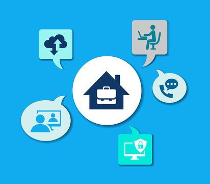 Home office vector illustration. Concept with connected icons related to homeoffice technology, freelance business, working from home.