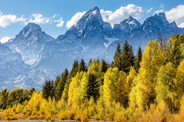 View of the Grand Teton Mountains from Schwabacher Landing on the Snake River. Grand Teton National Park, Wyoming, United States.