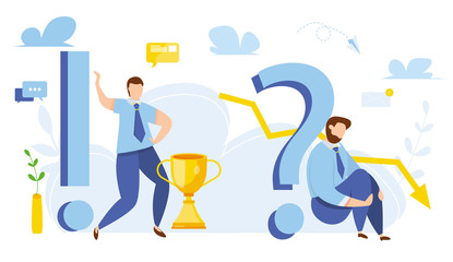 Modern vector illustration of business success and depression from failure. Move up motivation step by step. Winner and looser. Target's achievement. Business competition among economy crash.