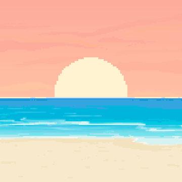 Pixel background for summer vacation.Summer beach game background. Pixel art 8 bit.