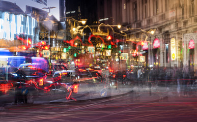 Light trails at Piccadilly Circus, London