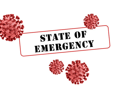 Coronavirus Covid-19 state of emergency large red sign graphic warning of virus or disease related concern for safety.