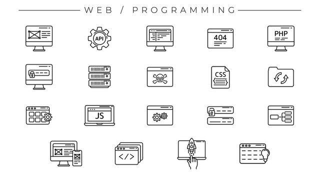 Web and Programming concept line style vector icons set