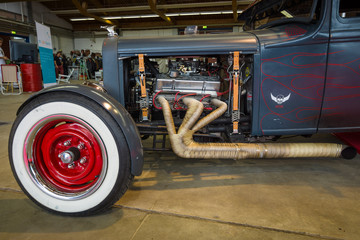 PAAREN IM GLIEN, GERMANY - MAY 23, 2015: Fragment of the custom Hot Rod. The oldtimer show in MAFZ.