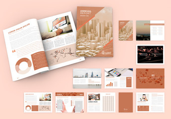 Peach Color Annual Report Brochure Layout