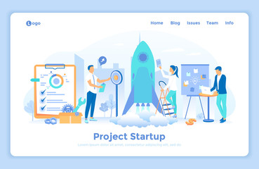 New Project Startup, Financial planning, Idea, Strategy, Management, Realization, Success. Team of specialists launch a rocket into space. landing web page design template decorated with people.