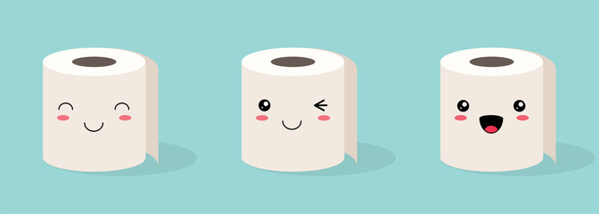 Set of three Cute kawaii Rolls of white toilet paper with a smiling face on a colored background. Flat vector stock illustration
