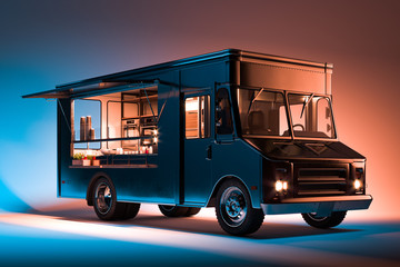 Black Food Truck With Detailed Interior Isolated on Illuminated Background. Takeaway food and drinks. 3d rendering.