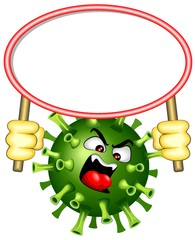 Foto op Plexiglas Draw Coronavirus with white Panel Warning Vector Character isolated on white