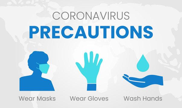 Coronavirus Precautions Wear Masks, Gloves, Wash Hands Illustration with Global World Map