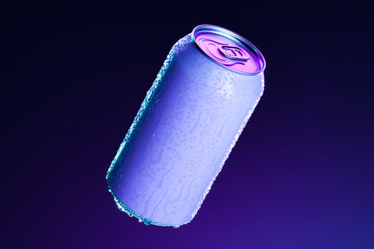 White Aluminum Can With Cold Water Droplets Isolated on Dark Blue Background, 3d rendering. Empty Space. Copy Space
