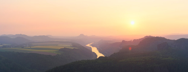 Panoramic landscape during the sunset in Saxon Switzerland, Germany