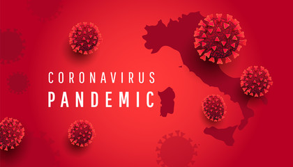 Coronavirus pandemic concept. Horizontal background with Italy map, 3D covid 19 bacterium cells on a red background with text