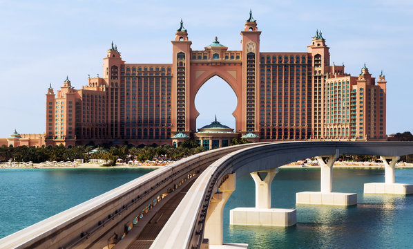DUBAI, UAE - JANUARY 26, 2016: Frame Atlantis the Palm is a luxury hotel in Dubai, Monorail connects the Palm Jumeirah to the mainland.