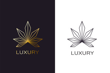 Gold cannabis plant logo. Luxury golden style