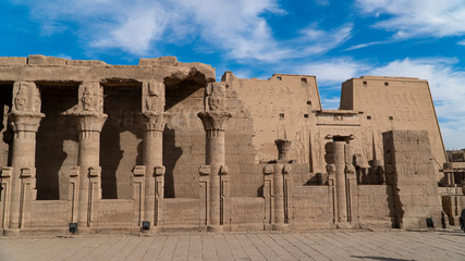 Edfu is the site of the Ptolemaic Temple of Horus and an ancient settlement. Egypt. Edfu also spelt Idfu, and known in antiquity as Behdet.