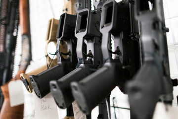 Guns are displayed at Shore Shot Pistol Range gun shop, amid fears of the global growth of coronavirus disease (COVID-19) cases, in Lakewood Township, New Jersey