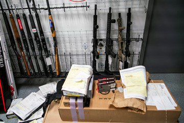 Guns ready to be shipped to customers are displayed at Shore Shot Pistol Range gun shop, amid fears of the global growth of coronavirus disease (COVID-19) cases, in Lakewood Township