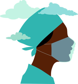 Profile of a female doctor or nurse in scrubs and face mask, clouds over her head, EPS 8 vector illustration, no transparencies