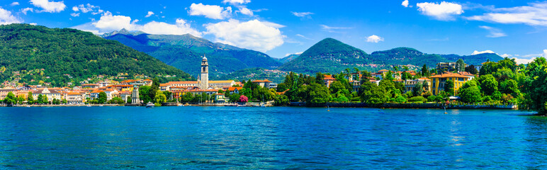 Picturesque lake Lago Maggiore. view of charming town Pallanza. North of Italy travel