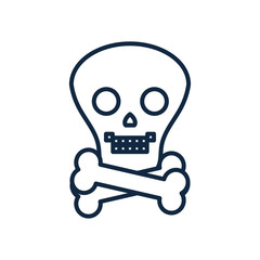toxic symbol of skull and crossbones, line style