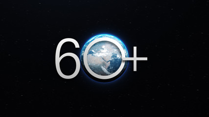 Earth hour ecological movement concept symbol. World globe with number 60