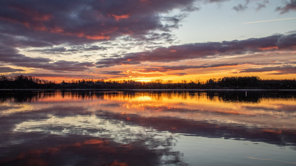 Canvas Prints Eggplant Panoramic sunrise over a Pennsylvania lake