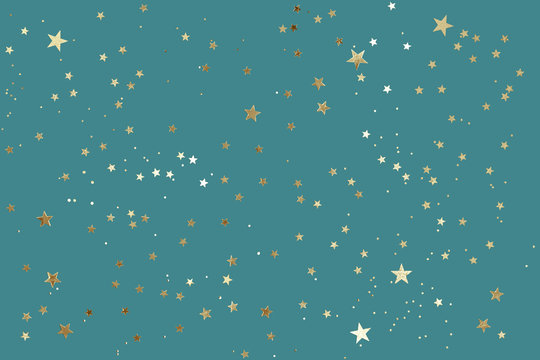 Falling confetti background. Sparkles on green trendy background. Festive backdrop for your projects.