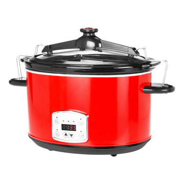 Red Slow Cooker with Locking Lid Isolated on White. Pressure Cooker in Stainless Steel with Digital Control Panel & Delay Timer. Small Domestic and Kitchen Appliances. Ceramic Crock Pot Front View
