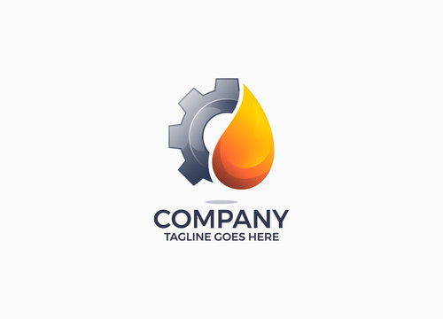gear and oil gradient color logo design template