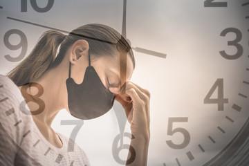 Woman sad and stressed from Coronavirus outbreak.  Nurse, doctor needing help support.