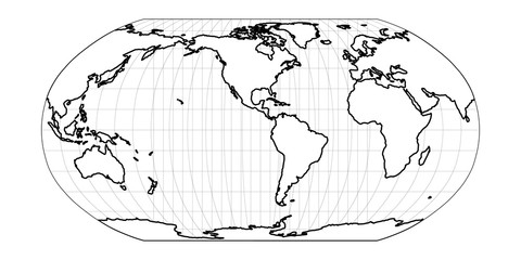 Wall Mural - World Map in Robinson Projection with meridians and parallels grid. White land with black outline. Vector illustration