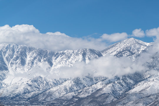 Snowcapped mountains over Genoa Nevada.
