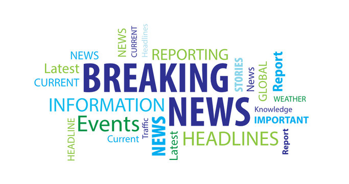 Breaking News Word Cloud on a White Background
