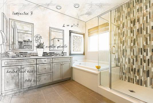 Custom Master Bathroom Design Drawing Gradating to Finished Photograph