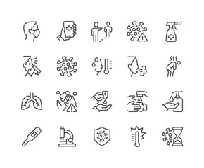 Simple Set of Coronavirus COVID-19 Protection Related Vector Line Icons.  Contains such Icons as Protective Measures, Coronavirus Symptoms, Incubation Period and more. Editable Stroke. 48x48
