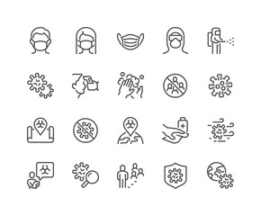 Simple Set of Coronavirus COVID-19 Safety Related Vector Line Icons. Contains such Icons as Washing Hands, Outbreak Map, Man and Woman Wearing Face Mask and more. Editable Stroke. 48x48 Pixel Perfect.