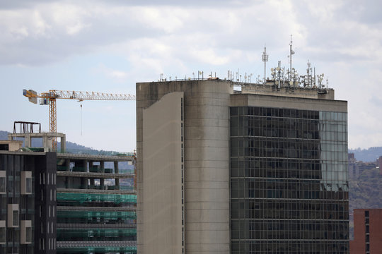 Communications equipment is seen on the roof of a building as Venezuelan utilities have hiked fees while the economy deteriorates further due to the spread of coronavirus disease (COVID-19) and the crash in global oil prices, in Caracas