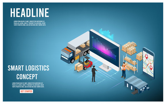 Modern Global logistic service isometric concept with export, import, warehouse business and transport. Vector illustration