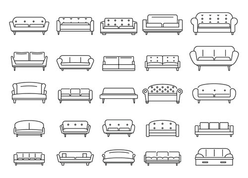 Sofa outline icons set. Vector Sofa outline collection isolated on white background with for web and advertising